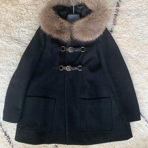 Black Maje Coat with 100% Racoon fur